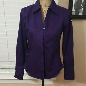Calvin Klein botton up purple blouse size 2